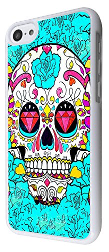 590 - Sugar Skull Skulls Multi tattoo Diamond eye Design iphone 5C Coque Fashion Trend Case Coque Protection Cover plastique et métal - Blanc
