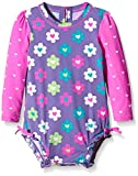 Hatley Baby Flower hearts Rash Guard, Purple, 3-6 Months
