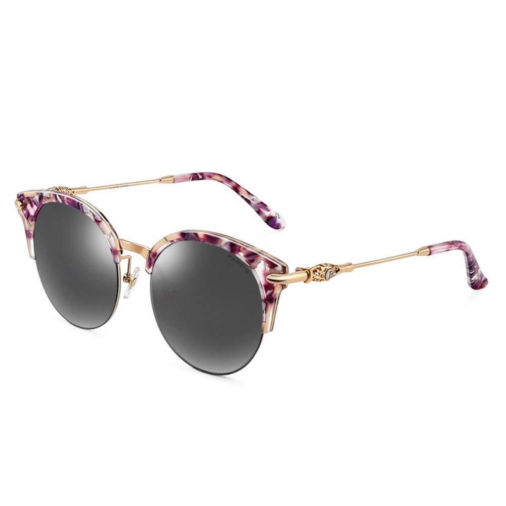Fashion Polarized Sunglasses Female Metallic Face Half Frame color Film Trend Driver Driving Sunglasses Purple Floral Water Silver