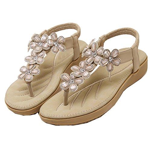 Damen Flip-Flops Sandalen Schuhe von Blumen Strasssteine Böhmen Stile Aprikose