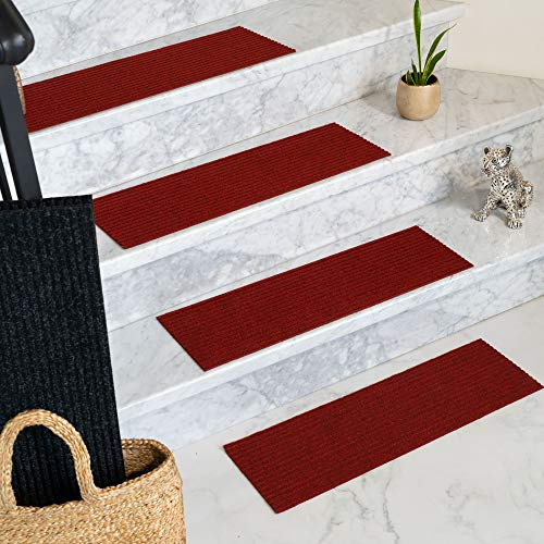 Natural Area Rugs 100% Natural Fiber Halton, Polyester Red, Handmade Stair Treads Carpet Set of 13 (9
