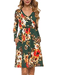 Women's Floral Fall Long Sleeve Pockets Casual Tunic T Shirt Dress
