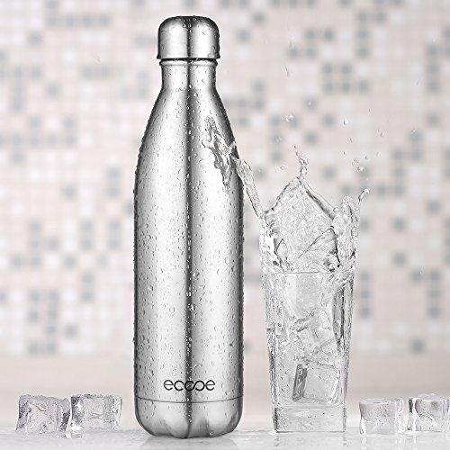 Ecooe Thermosflaschen 750 ml Edelstahl-Wasserflasche Vakuum-Isolierflasche für Kalt- und Heißgetränke Trinkflasche