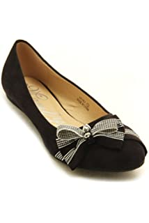 84f7b168f6ed Marilyn Moda Black Suede Ballet Flats Shoes with mini bow accent