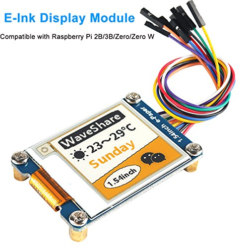 MakerHawk E-Ink Display Module, 1.54 inch E-Paper Display Module Screen Panel SPI Interface for Arduino Raspberry Pi 2B/3B/Zero/Zero W, Three Color Low Power Consumption, Wide Viewing Angle by MakerHawk