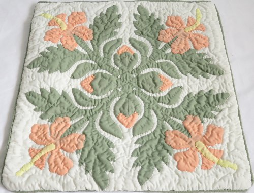 2 Hawaiian quilt throw pillow cover 16x16 100% hand quilted/100% hand appliqued (Quilt Quilted Pillowcase Hand)