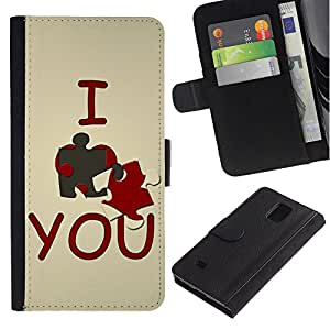 Billetera de Cuero Caso Titular de la tarjeta Carcasa Funda para Samsung Galaxy Note 4 SM-N910 / I love you Cute / STRONG