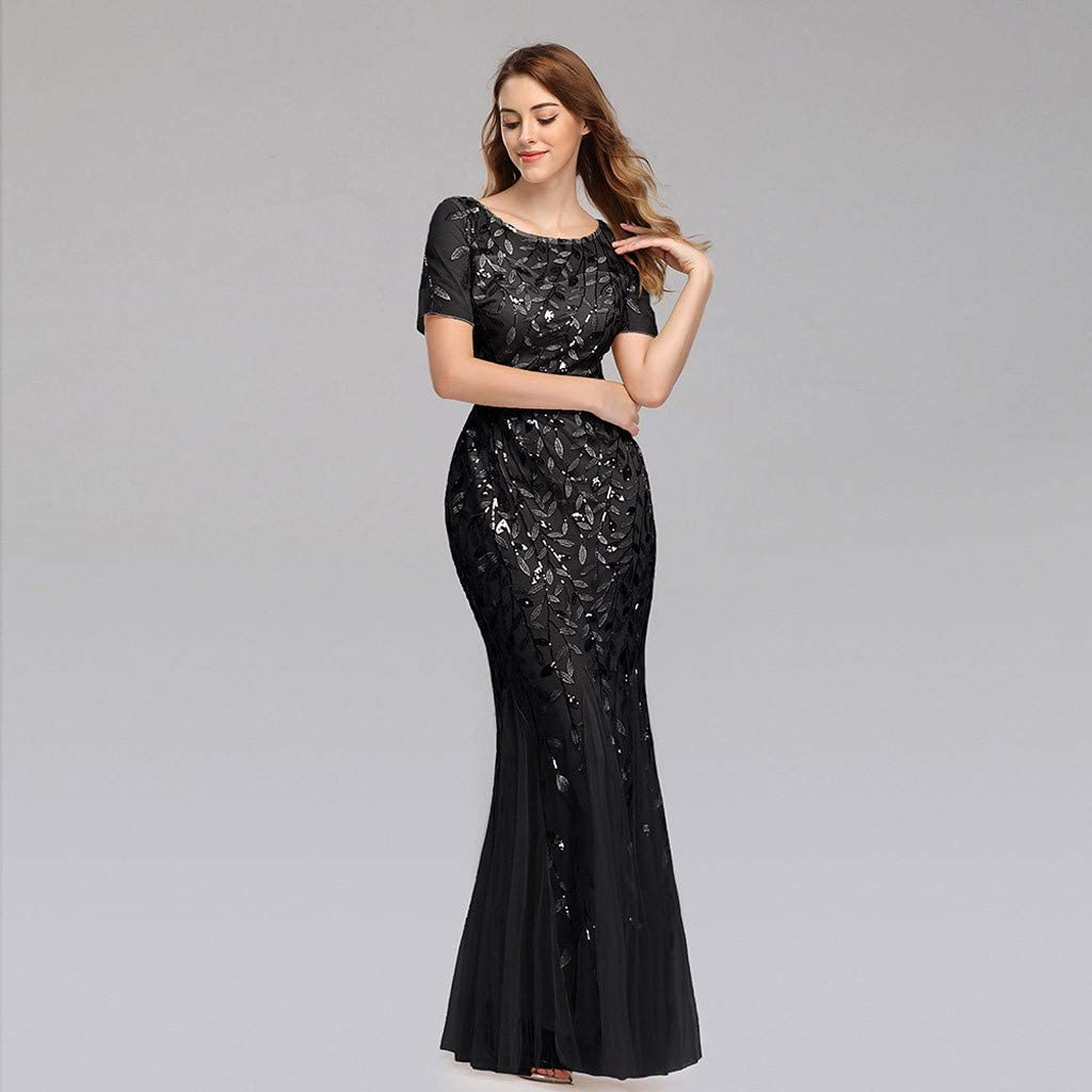 Amazon Com Women S Sparkling Dress Short Sleeve Sequin Chiffon Mermaid Evening Gown For Annual Dinner Party Clothing
