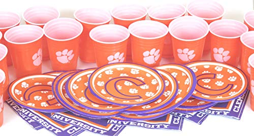 (Clemson Tigers, 4th of July 48 piece snack party set. includes 16 plates 7