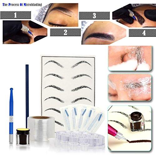 UPC 670823461588, Chartsea Microblading Practice Skin HandMade Pen Makeup Eyebrow Tattoo Needle Pigment Kit (Blue)