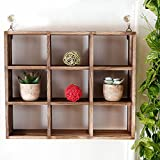 9 Compartment Rustic Paulownia Wood Shadow Box, Wall Mountable Cubed Display Shelf Case