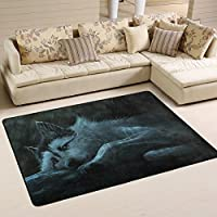 DEYYA Custom Fantasy Wolf Painting Non-slip Area Rugs Pad Cover 36 x 24 Inch, Simple Modern Throw Rugs Carpet Modern Carpet for Home Dining Room Playroom Living Room Decoration