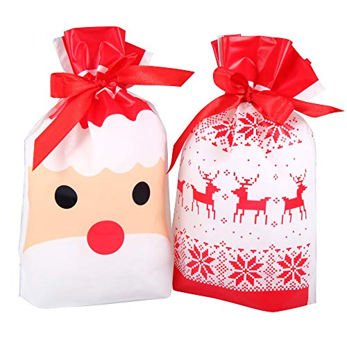 Christmas Plastic Drawstring Bags, Party Favors Gifts and