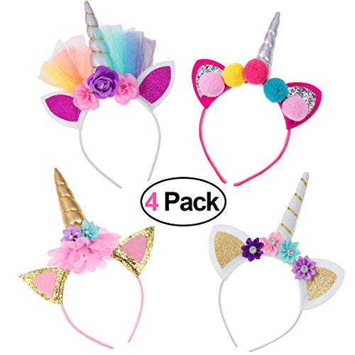 Frcolor Unicorn Horn Headband, 4 Pack Gold Glitter Unicorn Horn Head Band Headdress for Kids Adults Birthday Party Cosplay Costume