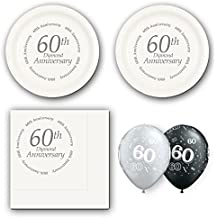 60th Diamond Anniversary party supplies for 16 guests - cake plates, napkins and balloons