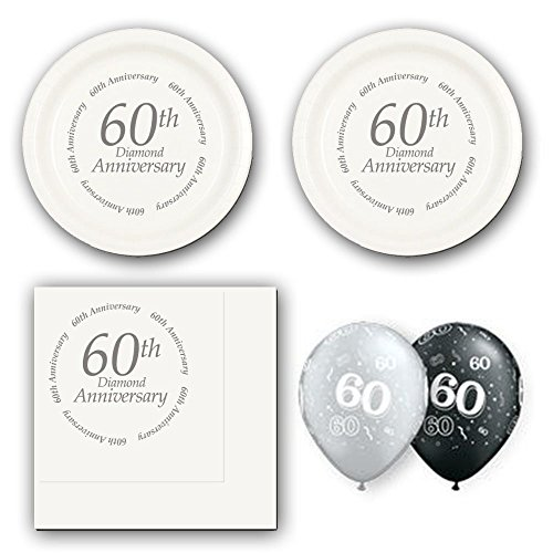 60th-Diamond-Anniversary-party-supplies-for-16-guests-cake-plates-napkins-and-balloons