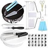 Cake Decorating Supplies 9 Inch Springform Round cake pans 24 Piping Nozzles Cake Stand 11 Inch Cake Turntable,2 Icing Spatula and 3 Icing Smoother,Pastry Bag,Cutter,Flower Lifter,Cheese spatula