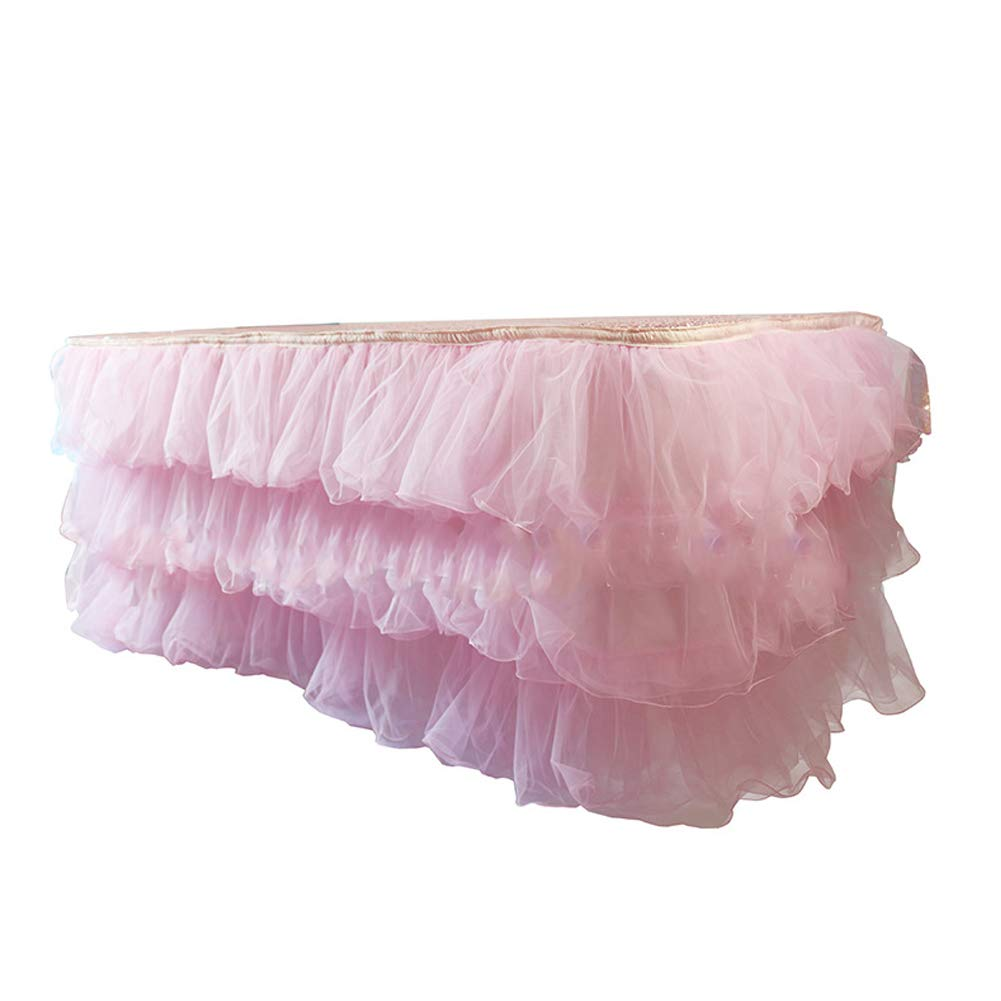 JINSEY 14 ft Tutu Tulle Table Skirt for Rectangle Tables 3 Layer Dust Ruffle Skirting for Wedding, Party, Hotel, Meeting, Birthday Decortion - Pink