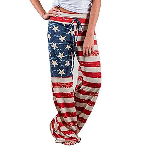 4th of July Women's American Flag Drawstring Wide Leg Pants Leggings (US 6/L, Red)