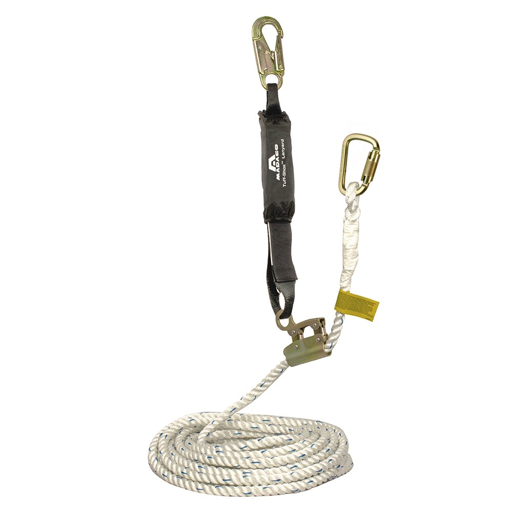 Madaco Roof Construction Fall Protection Heavy Duty Industrial Safety 30FT 3-Strand Polypropylene Rope Internal Shock Absorbing Pack Snap Hook Grab Kit ANSI OSHA L-RG-30S by Madaco Safety Products