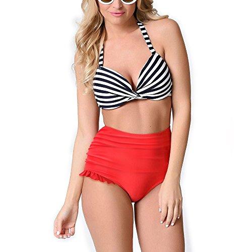 PZZ Halter Bandeau Printing Swimsuit