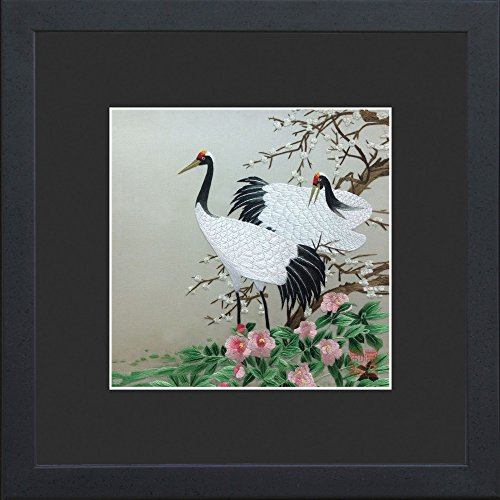 King Silk Art 100% Handmade Embroidery Multiple Framed Two Japanese Red Crowned Cranes With Pink FlowersWall Hanging Art Asian Decoration Tapestry Artwork Picture Gifts 31127_31131BFB1