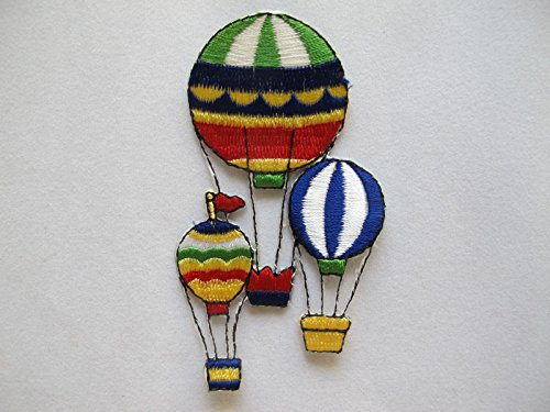 (ShopForAllYou Patches Rolling Jackets Rainbow Color Hot-Air Balloon Embroidery Iron On Applique Patch (3559))