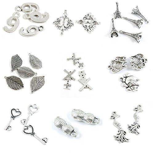 29 PCS Jewelry Making Charms Phoenix Peanut Love Heart Skeleton Key Mother Child Parent Elephants ()