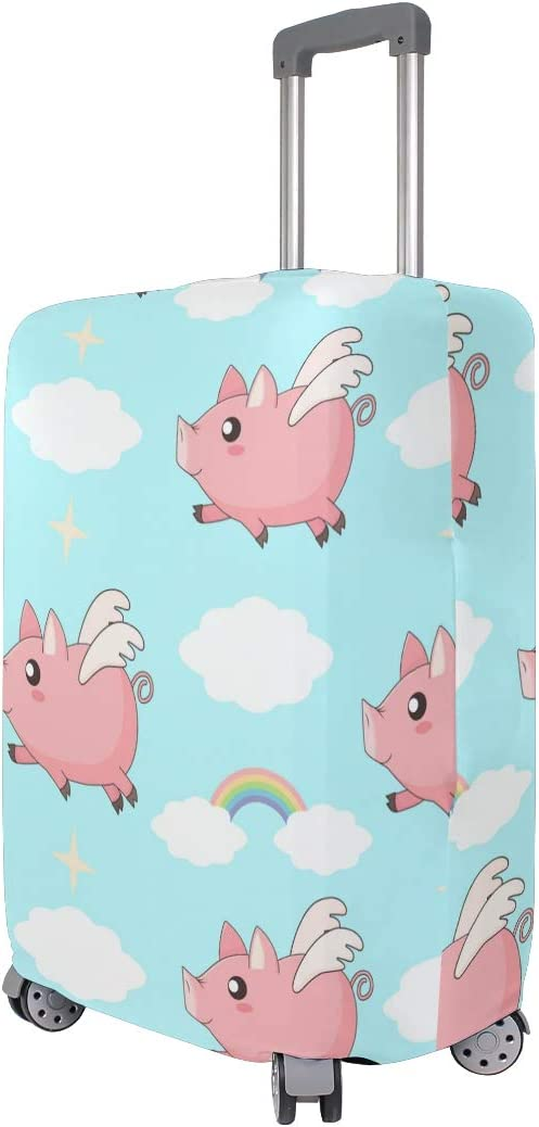 Travel Luggage Cover Flying Angel Pig Pink Cloud Rainbow Blue Sky Suitcase Protector
