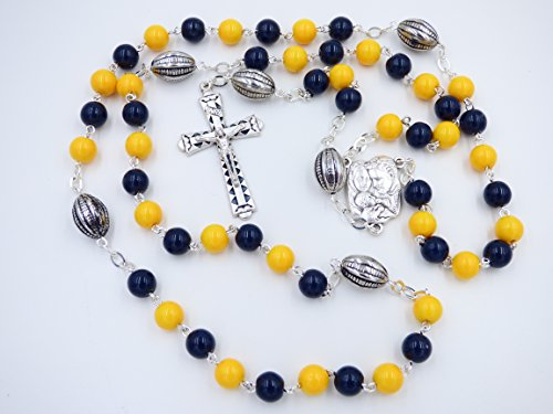 WEST VIRGINIA UNIVERSITY MOUNTAINEERS NCAA CATHOLIC ROSARY BEADS