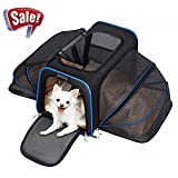 YOUTHINK Pet Carrier, Airline Approved Soft Sided Pet Travel Carrier, 2 Side Expansion Soft Fleece Bed Storage Case for Small Size Cats Dogs up to 22 lbs, 18'' L x 11'' W x 11'' H, Black