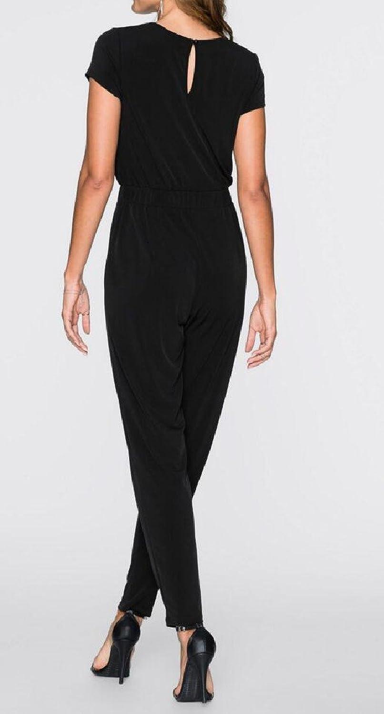Pamelas Womens Pure Color Lace Short Sleeve Slim Casual Round Neck Jumpsuit Romper Formal Jumpsuit - -: Amazon.co.uk: Clothing
