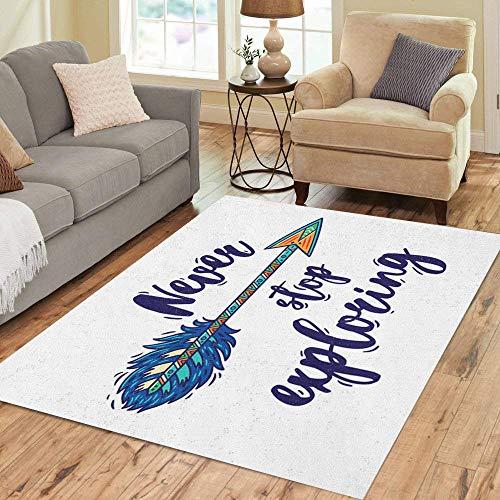 Pinbeam Area Rug Never Stop Exploring Boho Inspirational Ethnic Arrow Home Decor Floor Rug 2' x 3' Carpet