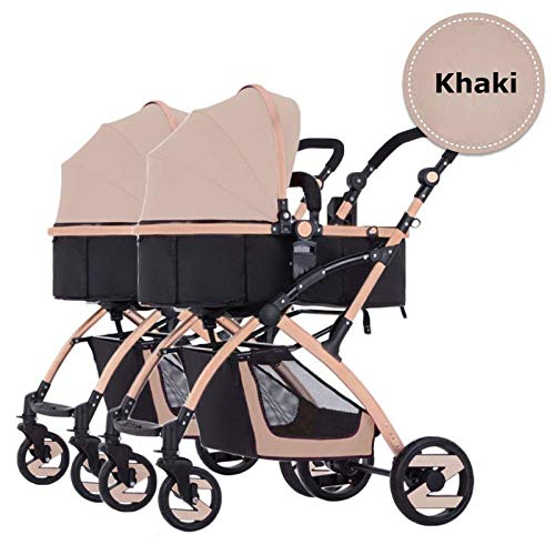 UEHGMD Baby Cart, Double Strollers Baby Pram Tandem Buggy Newborn Pushchair Ultra Light Folding Child Shock Absorber Trolley Can Sit Half Lying 0-3 Years Old,60kg Maximum