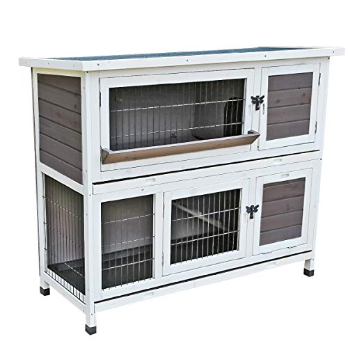 "Yardeen Rabbit Hutch Wooden Pet Two Story Wood Bunny Cage Indoor Outdoor for Small Animals. 48""(L) x 19.5""(W) x 40""(H)"