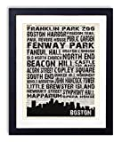 Boston Landmarks Skyline and Typography Dictionary Art Print 8x10