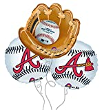 Atlanta Braves Baseball Mitt Mylar Balloons - 3 Pack