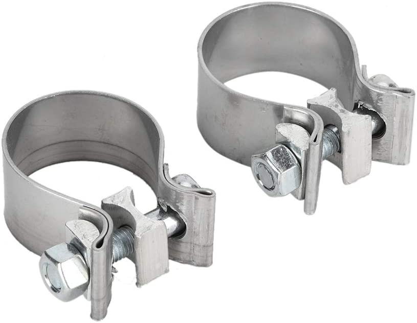 Car Exhaust Band Clamp 1 Pair 1.75in Stainless Steel Exhaust Band Clamp System Accessory