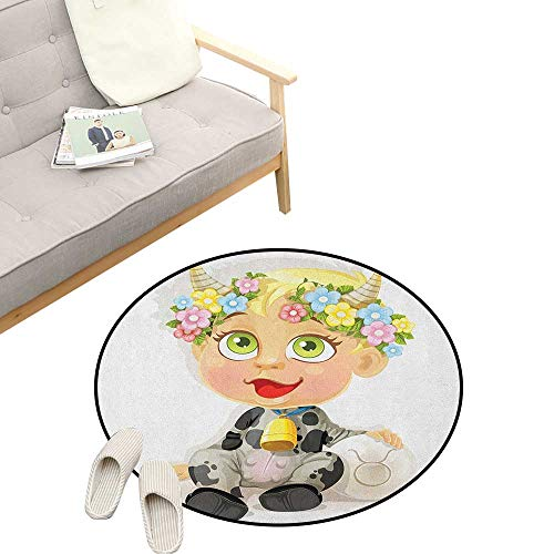 Zodiac Taurus Custom Round Carpet ,Happy Baby with Little Horns and Flowers Cow Bell and Costume Kids Cartoon, The Custom Round Non-Slip Doormat 39