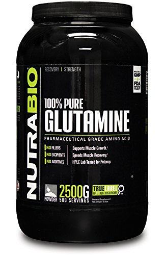 NutraBio 100% Pure L-Glutamine Powder - 2500 Grams - HPLC Tested, Micronized, Unflavored, No Additives or Fillers, GMP. Post Workout Muscle Recovery Supplement.