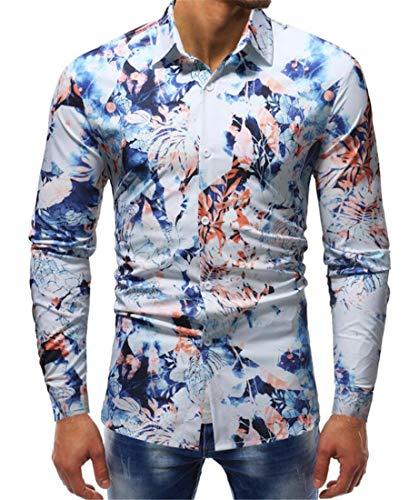 (UUYUK Men Turn-Down Collar Long Sleeved Tie Dye Button Shirt one US M)