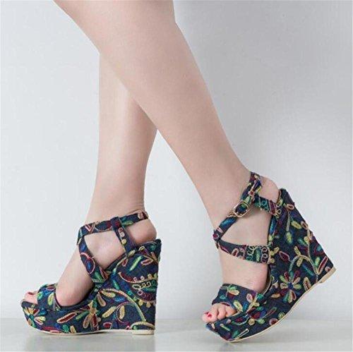 Frauen Schuhe Party Vintage bestickte Denim Plattform Keil Cross Strap Pumps Sandalen Größe 35 bis 40
