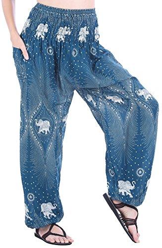 CandyHusky Womens Print Baggy Genie Aladdin Hippie Boho Yoga Harem Pants Costume (One Size Regular, Elephant 6 -