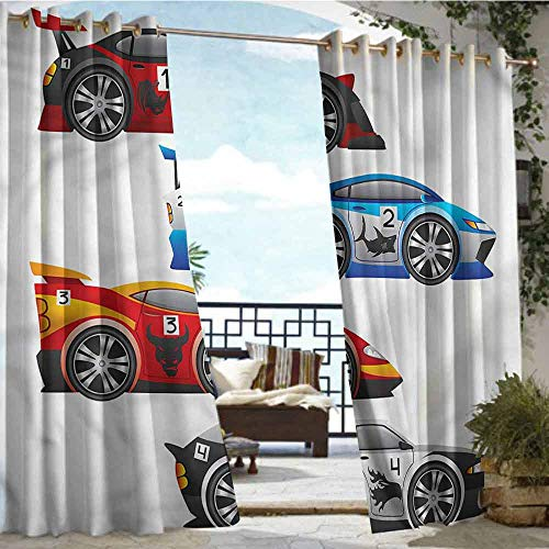 - crabee Fashions Drape Cars,Formula Cars Technology,W72 xL96 for Front Porch Covered Patio Gazebo Dock Beach Home