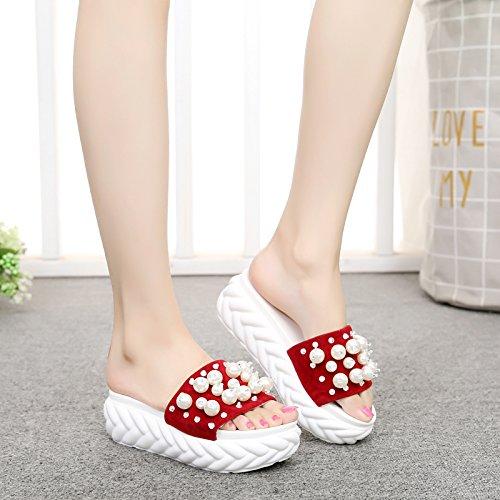 casual toccò anti ladies spessa sandals caratteri di FLYRCX skid il sandali moda outdoor Estate fondo retrò b pantofole perline S7wp8nq