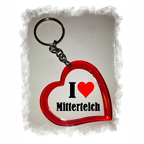 "Exclusive Gift Idea: Heart Keyring ""I Love Mitterteich"", a Great gift that comes from the Heart - Backpack pendant - love pendant - Keychains- Keyring- Christmas Gift"
