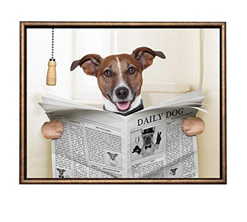 (Eliteart-Dog Reading Newspaper Oil Painting Reproduction Giclee Wall Art Canvas Prints- Framed)