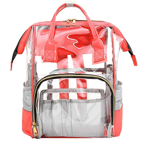 Clear Backpack Bookbag Vintage Multifunction Unisex Travel Rucksack Laptop Daypack & Mesh Side (Hot Pink) ()