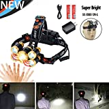 Usb Rechargeable headlamp,Motion Sensor Zoomable Cree LED Super Bright 5T6 Brightest Waterproof,Super Bright Headlights Flashlight for car light Running Hiking,camping,18650 Batteries charger Included