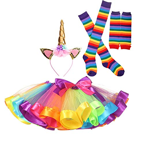 Girls Rainbow Tutu Unicorn Outfits with Long Stockings and Gloves for 6-10 ()